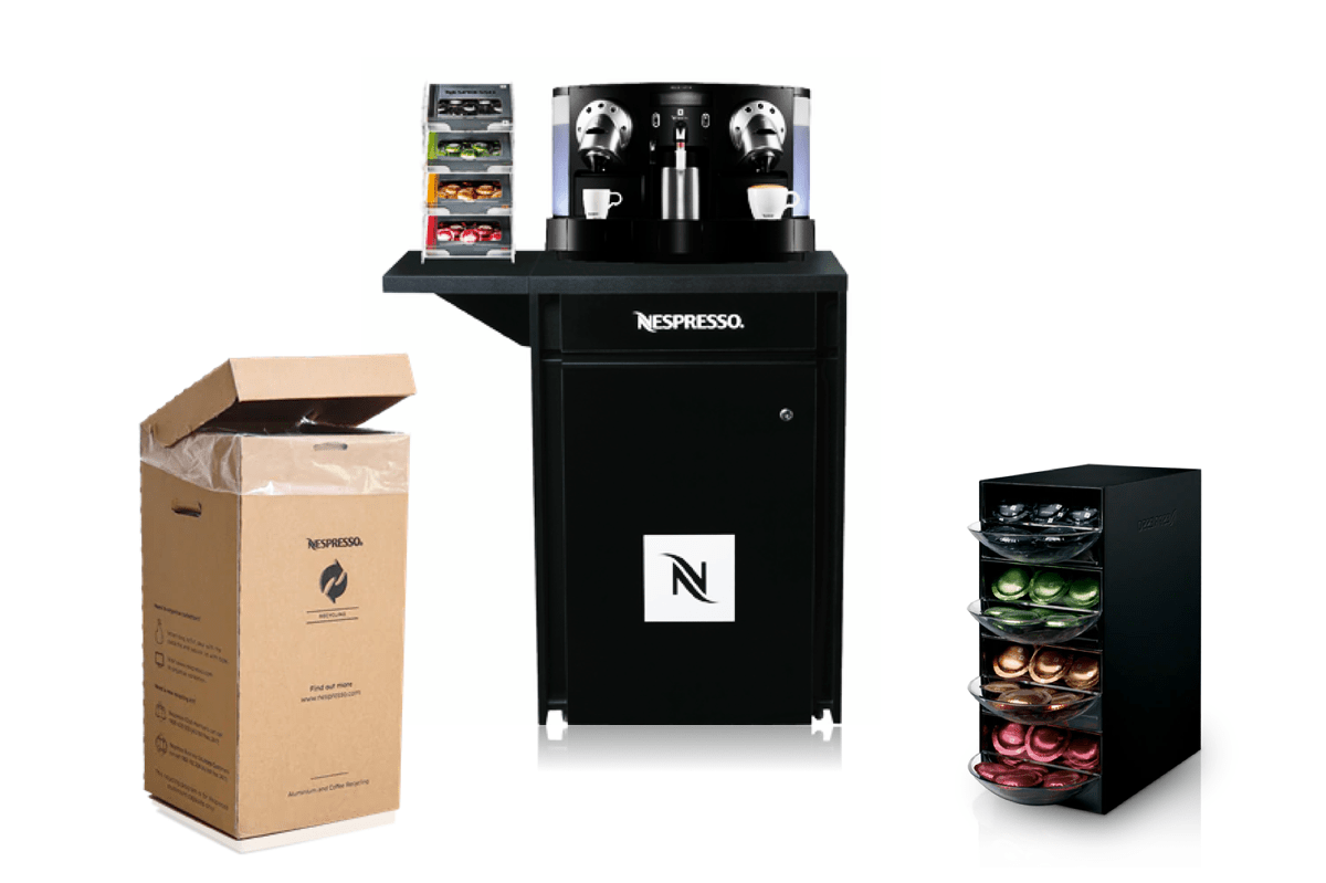 Furnitures and accessories that creates an enjoyable coffee lounge to enhace your coffee breaks by Nespresso Professional